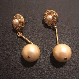 Vintage Faux Pearl Stud Drop Earrings